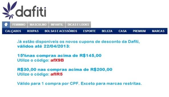 dafiti - CUPONS DE DESCONTO.
